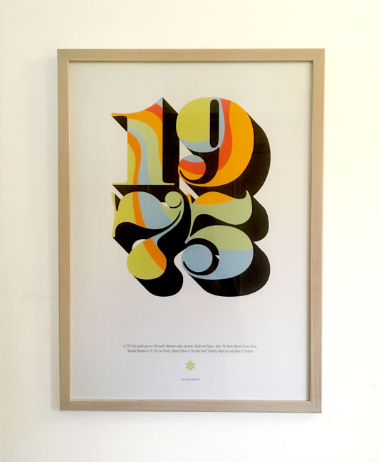1975 poster framed on wall