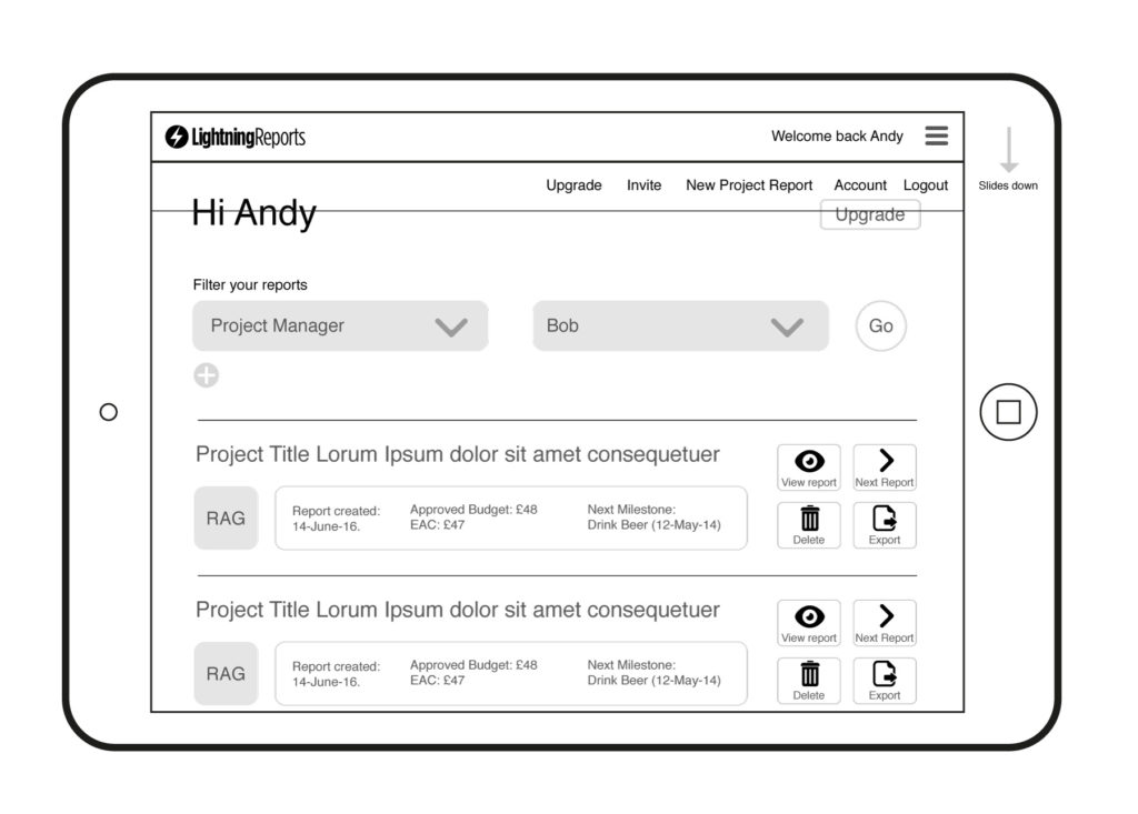 Lightning Reports Wireframes – Dashboard