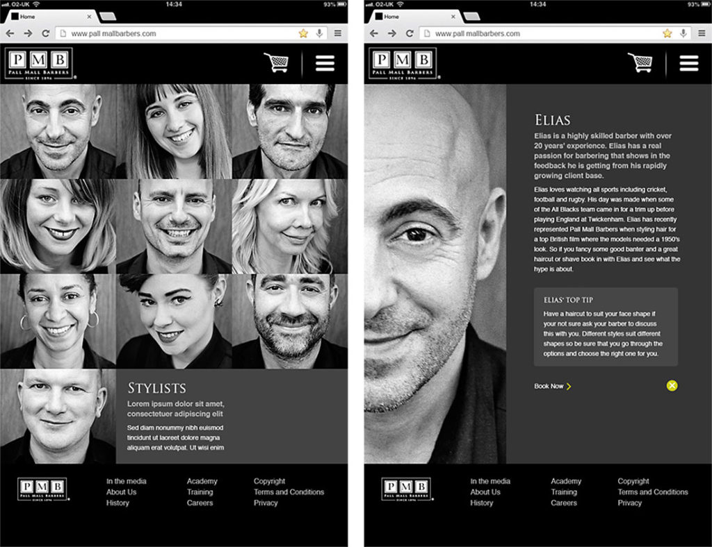Pall Mall Barbers stylist page