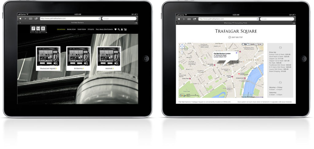 Pall Mall Barbers tablet locations