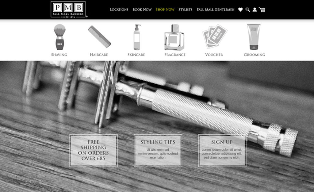 Pall Mall Barbers shop page